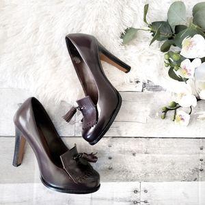Halogen dark brown leather penny loafer heels 5M